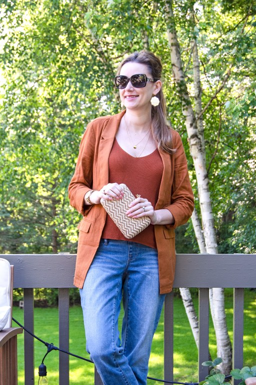 This lightweight linen blazer by Old Navy is the perfect addition to your summer wardrobe! It pairs well with so many looks, and is perfect for cool summer nights!