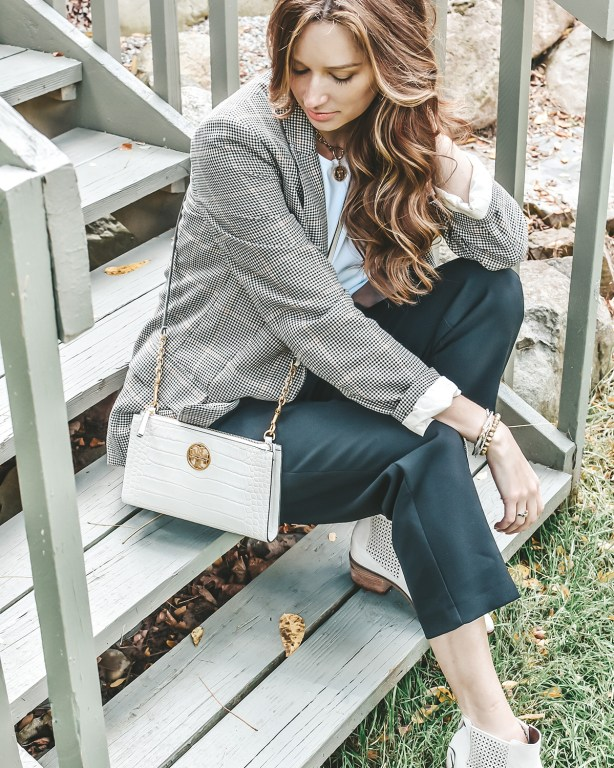 I'm keeping the autumn plaid vibes rolling today with this fall plaid blazer! Paired with some of my favorite black dress pants, this is an easy fall work look!