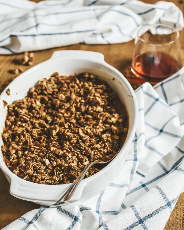 We're gearing up for Thanksgiving over here with my bourbon sweet potato casserole! It's full of sweet delicious potato-y goodness and topped with a crunchy walnut and oats topping!