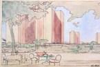 A Picturesque Sketch of Le Corbusier's Le Ville Contemporaine