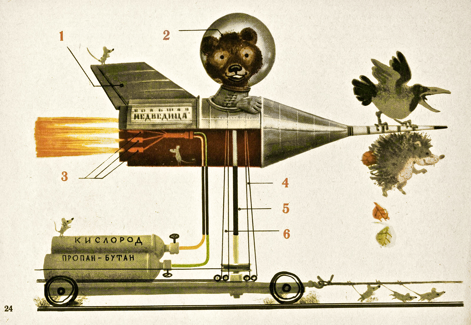 Bear with bird, hedgehog, and helpful mice prepare for liftoff