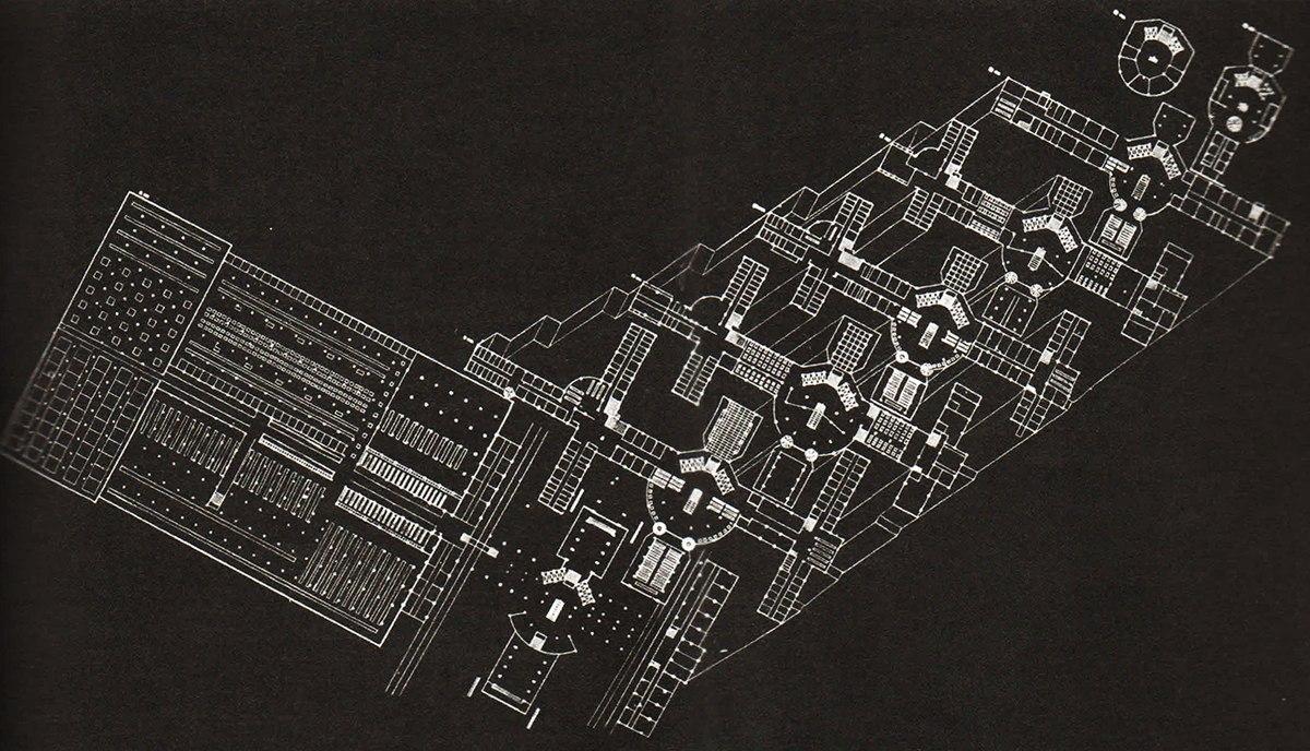 Дом профсоюзов. Дипломный проект Арх.- Н. Красильников Год создания проекта- 1928 Иллюстрация- СА №6 1928 г. 2
