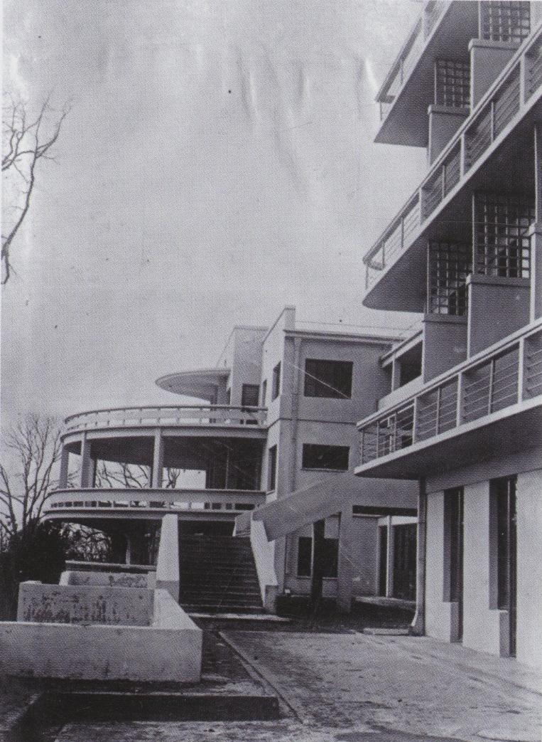 Detail of the main facade of Alesei Shchusev, hotel in Sochi, USSR (1928)