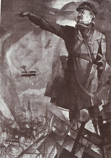 Iurii Annenkov, Cubo-futurist portrait of Trotsky as commander of the Red Army (1921)