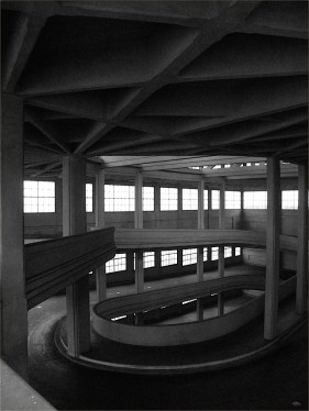 Interior to the Fiat Lingotto auto manufacturing plant, 1930s