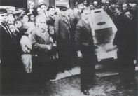 Malevich's funeral procession, his coffin carried forward by Suetin and others (1935)