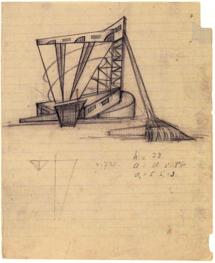 Unknown, Ladovskii's workshop, Alkaline manufacturing tower, revelation of volume and space, 1922