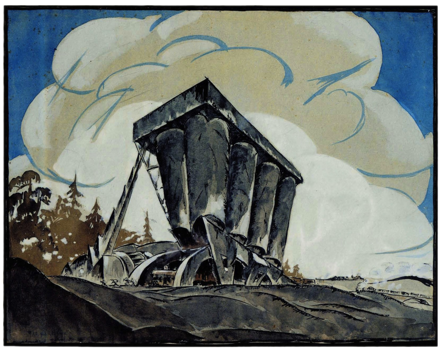 V Vladimirov, Nikolai Ladovskii's workshop, grain elevator, revelation and expression of form, 1922