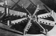 Valentin Popov, design for a housing commune in a new city, Nikolai Ladovskii's studio (1930)