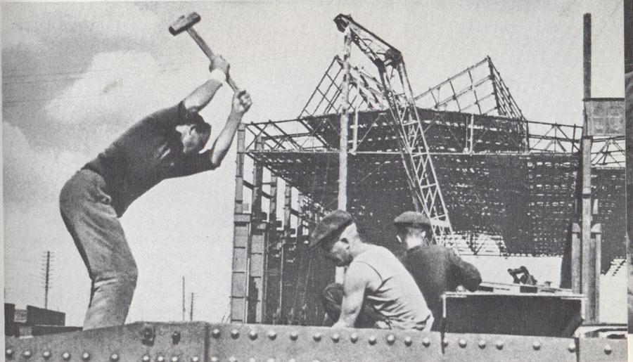 На строительстве кузовного корпуса 1938 год