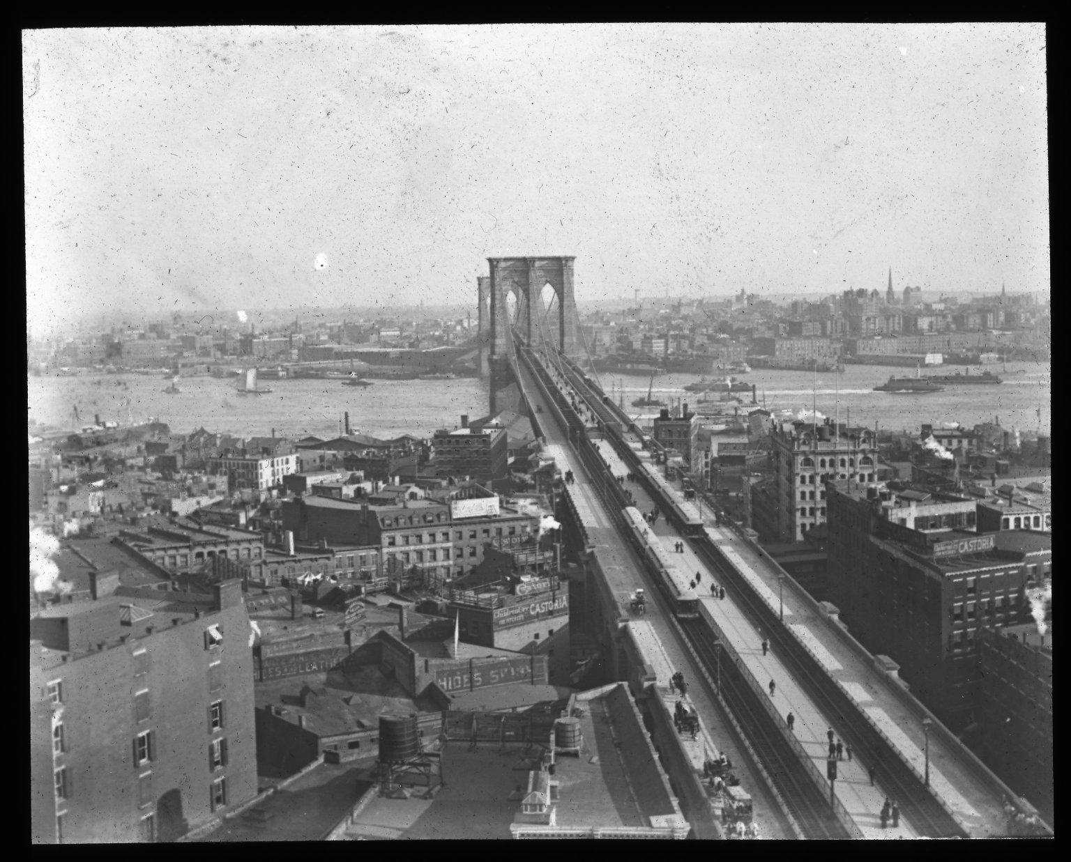 Bridge and Brooklyn; form New York. Collection- Lantern Slide Collection Views- U.S., Brooklyn Brooklyn Bridge 1896-1900