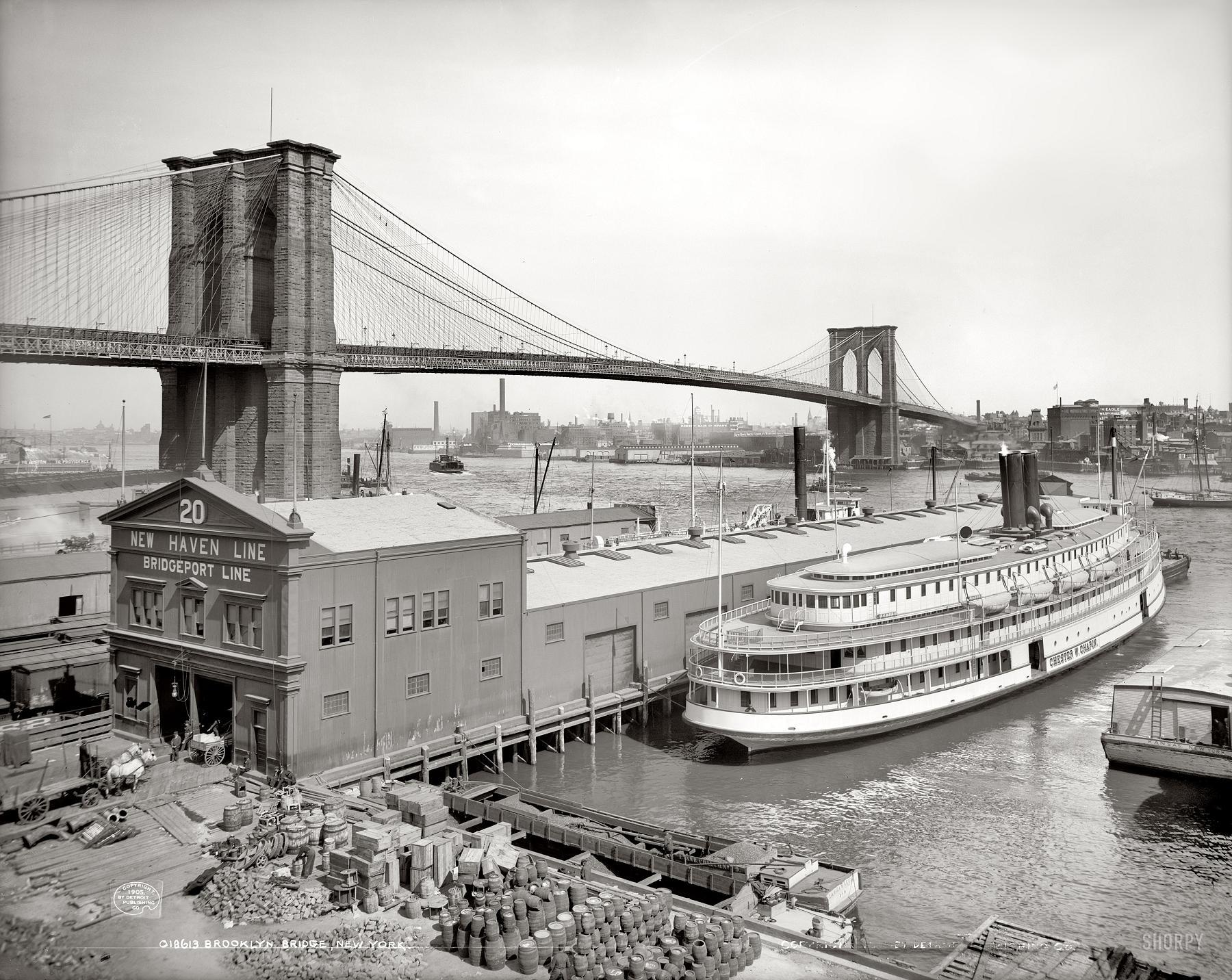 Brooklyn Bridge over East River.1905.