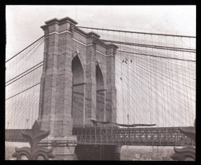 Brooklyn tower; cobweb and the flies' from Fulton Ferry House, Brooklyn. Collection- Lantern Slide Collection Views- U.S., Brooklyn Brooklyn Bridge 1896-1900