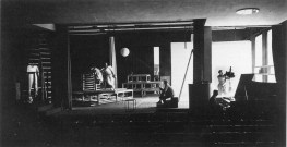 Interior to the Bauhaus Dessau theater facility design by Gropius and outfitted with Breuer chairs (1926). Photo by Erich Consemuller.
