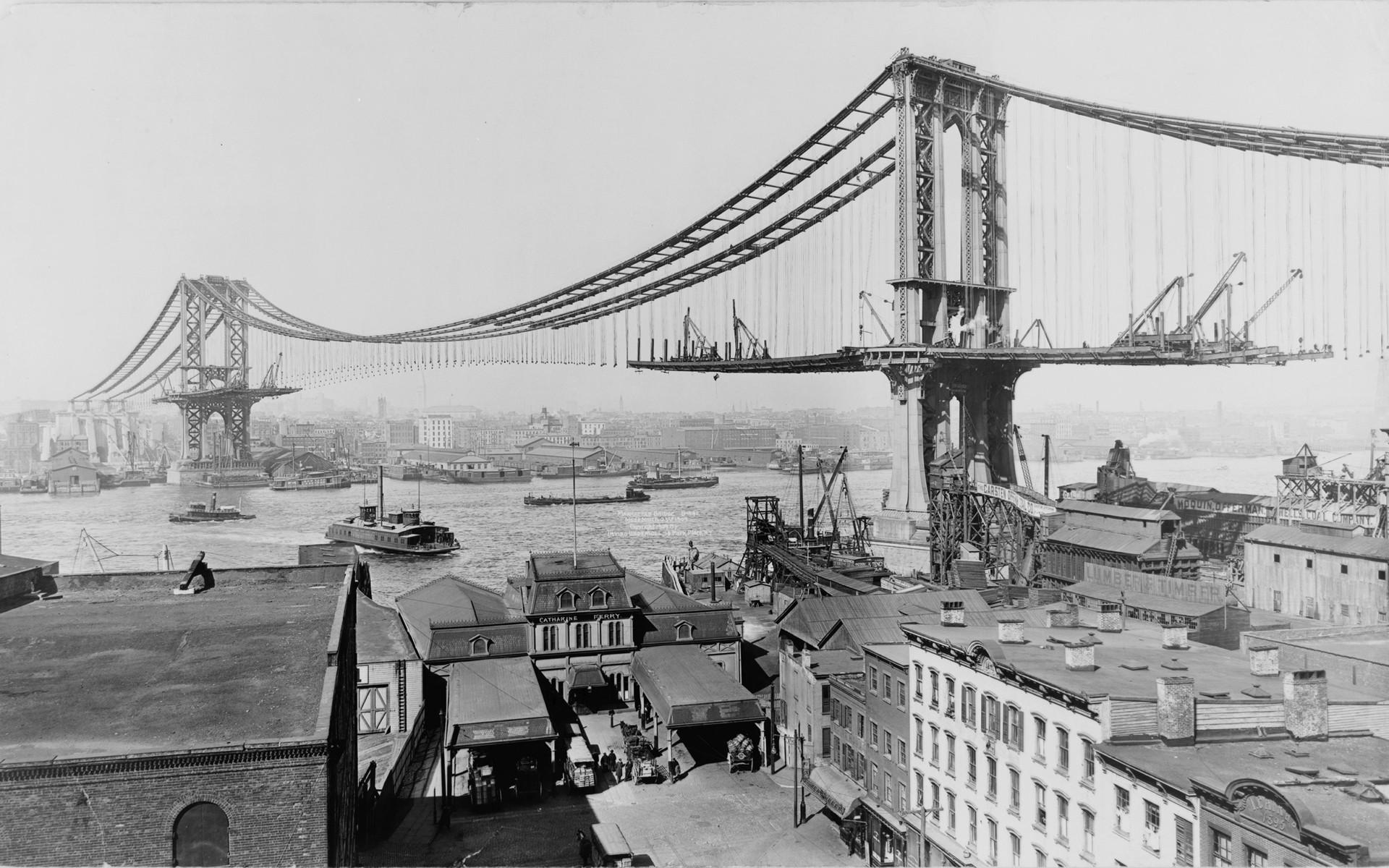 The Brooklyn Bridge under construction, ca. 1880