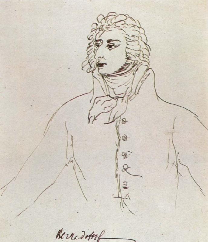 """Mikhail Sokolov, """"Marshal Jean-Baptiste Bernadotte [Бернадотт],"""" from Figures of the 1789 French Revolution (1930-1934)"""