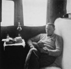 Ernst May in his train compartment, Soviet Union (1932)