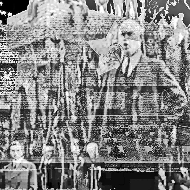 """Photomontage of Ernst Thälmann, leader of the German Communist Party (KPD), standing in front of Mies' Monument to Rosa Luxemburg and Karl Liebknecht on May 8, 1929, observing the anniversary of """"Bloody May"""" a decade earlier"""