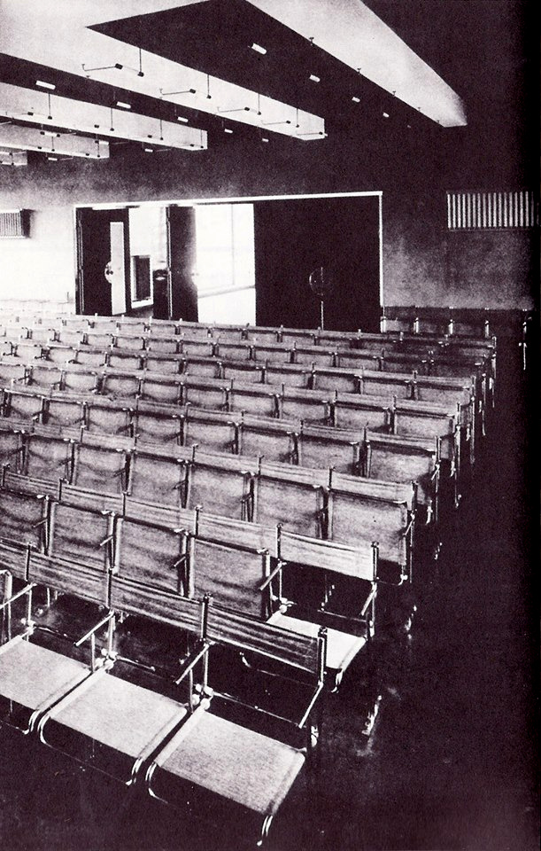 Interior to the Bauhaus Dessau theater facility design by Gropius and outfitted with Breuer chairs (1926).