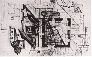 Konstantin Mel'nikov, preliminary sketches conceptualizing the house (1927)