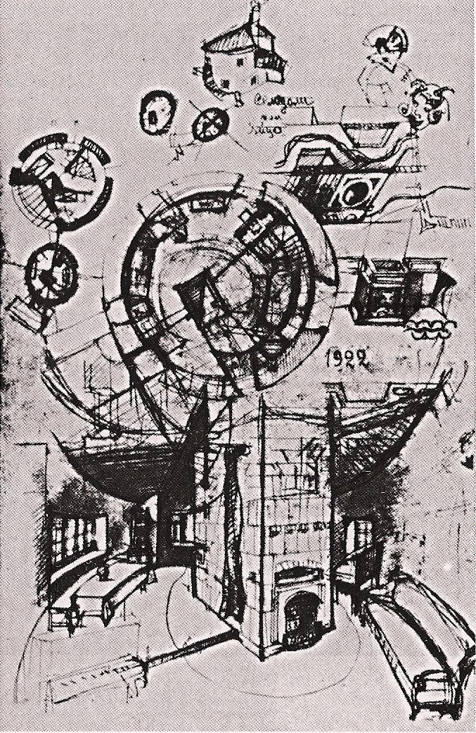 Konstantin Mel'nikov, preliminary sketches conceptualizing the house (1927)