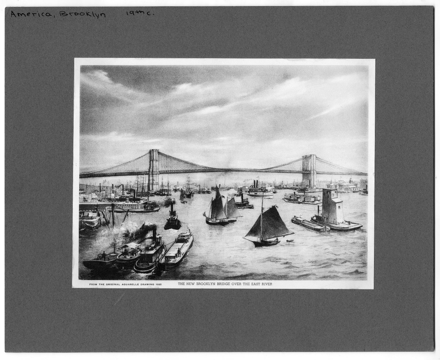 Brooklyn Bridge over the East River from the orginal aquarelle drawing 1885.