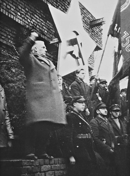 Wilhelm Pieck (1876-1960), later president of the GDR, speaking on behalf of the KPD's leadership at the rally on February 10, 1933.