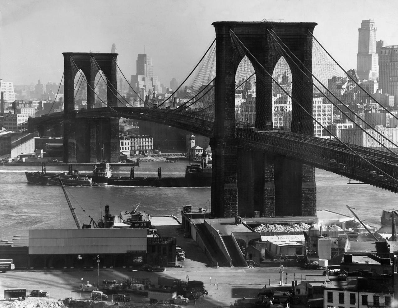 View of the Brooklyn Bridge looking toward Brooklyn, photo taken by Bauhaus master Andreas Feininger (1920s)