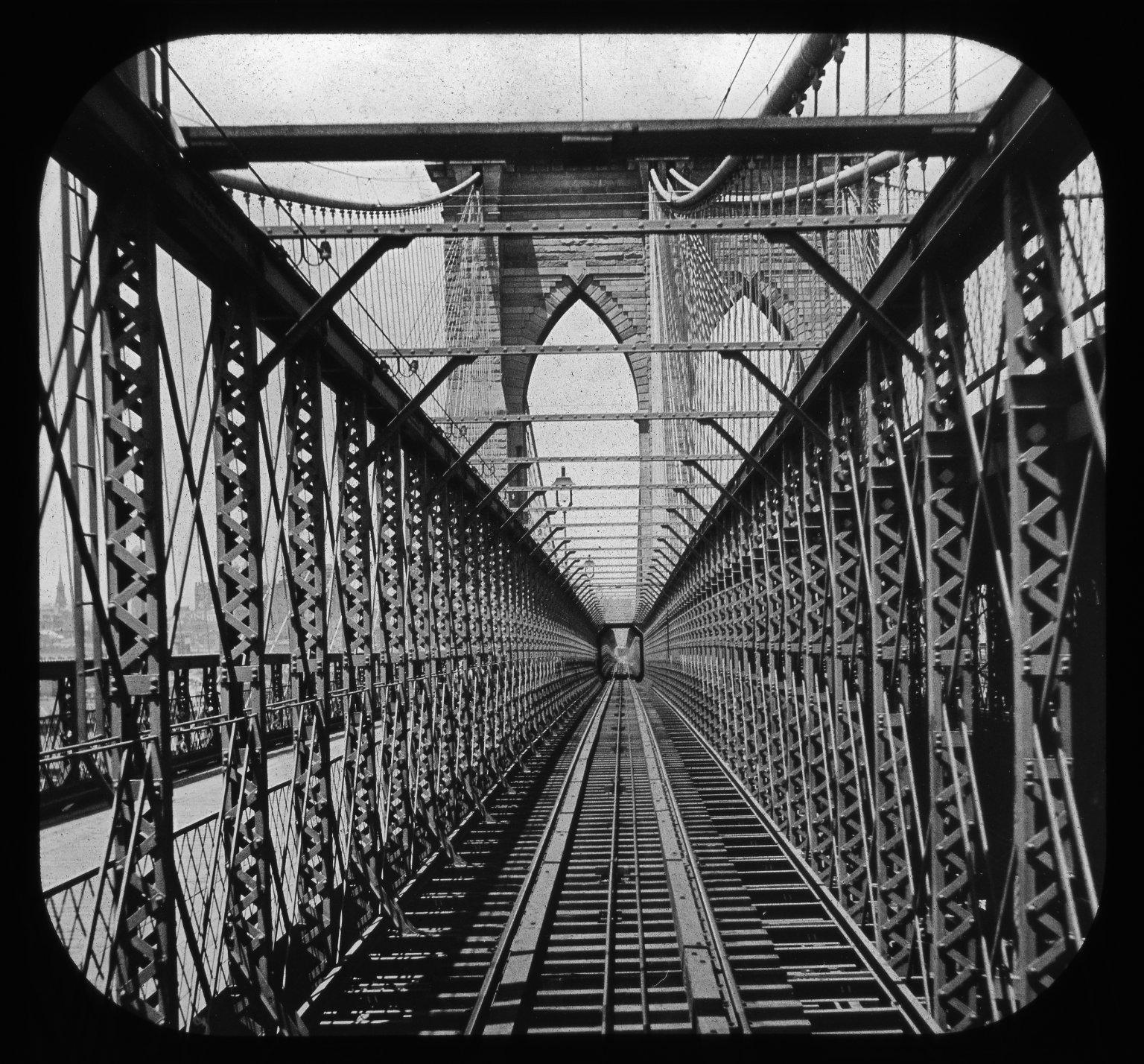 Brooklyn Bridge from car platform. Creator- S. W. Lewis Collection- Lantern Slide Collection Views- U.S., Brooklyn Brooklyn Bridge 1896-1900