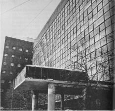 Le Corbusier and Nikolai Kolli's Tsentrosoiuz in Moscow, photographed by Anatole Kopp 1966