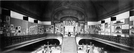 Interior to the USSR pavilion in Paris (1925). A later model of Tatlin's tower, as well as the Vesnins' various projects, can be seen inside)