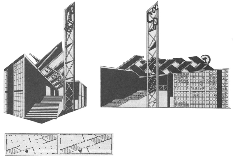Konstantin Mel'nikov, multiple perspective views of his proposal for the Soviet pavilion in Paris (1925)