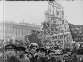 Vladimir Tatlin's Monument to the Third International being pulled through the streets of Moscow, May Day 1920