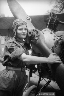 Uzbek woman flying a plane