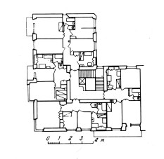 Gosstrakh apartment block, Moscow (1926), plan of first and second floors containing four apartments, upper floors contained smaller apartments and single rooms with communal facilities