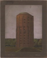 Hans Poelzig (1869-1936) Wasserturm Winterhude, Hamburg (1906-1907) Perspektivische Ansicht Handzeichnung Tempera auf Karton 94,00 x 75,50 cm Inv.-Nr. 2566