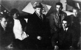 Studio of Nikolai Ladovskii in the architecture faculty, with a group of students with models and course projects, 1929, l-r P Fedurov, M Lavaev, N Ladovskii, P Reviakin, L Grinshpun, V Kalmykov