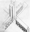 V. Lavrov, Diploma project on the theme of the New City, studio of Nikolai Ladovskii (1928), housing-commune axonometric view