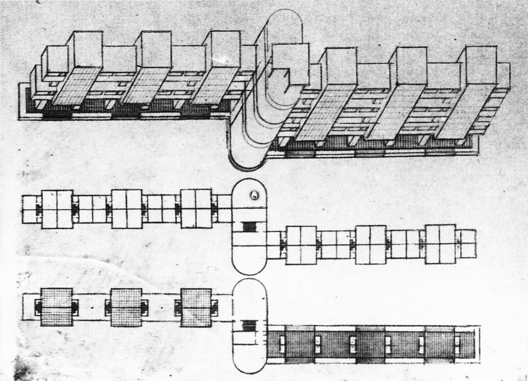 V. Popov, Diploma project on the theme of the %22New City%22 (1928), studio of Nikolai Ladovskii, living complex, axonometric and plan