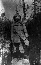 French soldier wearing gas mask circa 1917