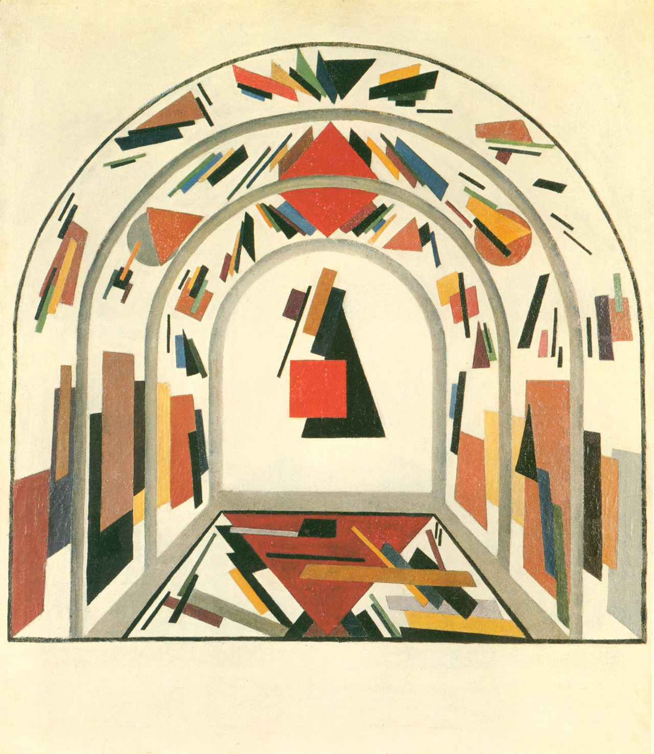 Ivan Alexeevich Kudriashev, General Plan for the Interior Decoration of the First Soviet Theater in Orenburg, Russia 1920