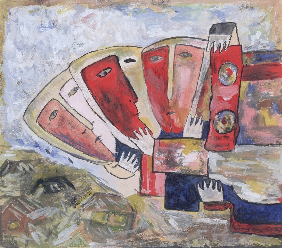 Ivan Kudryashov Faces and Masks Gouache on paper (23.2 x 26.4 cm) [Signed and titled in Cyrillic on verso] Omsk, Private Collection