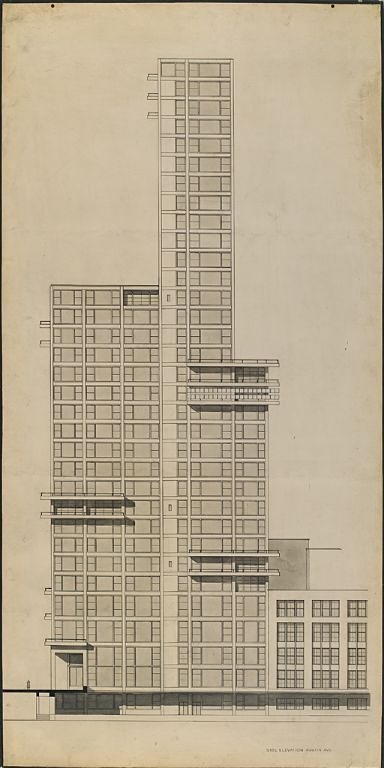 """Walter Gropius and Adolf Meyer: Competition Entry for """"Chicago Tribune"""" Tower (1922). Sketch, section elevation."""