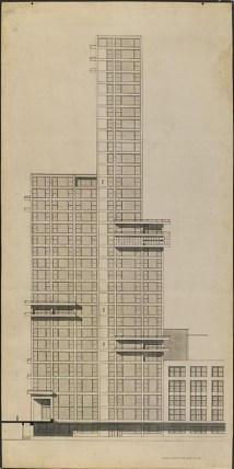 "Walter Gropius and Adolf Meyer: Competition Entry for ""Chicago Tribune"" Tower (1922). Sketch, section elevation."