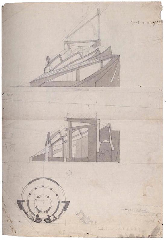 A Mukhin, supervisor Leonid Vesnin, Tropical plants pavilion in the botanical gardens in Paris, sketches 1923b