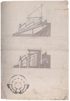 A Mukhin, supervisor Leonid Vesnin, Tropical plants pavilion in the botanical gardens in Paris, sketches 1923b