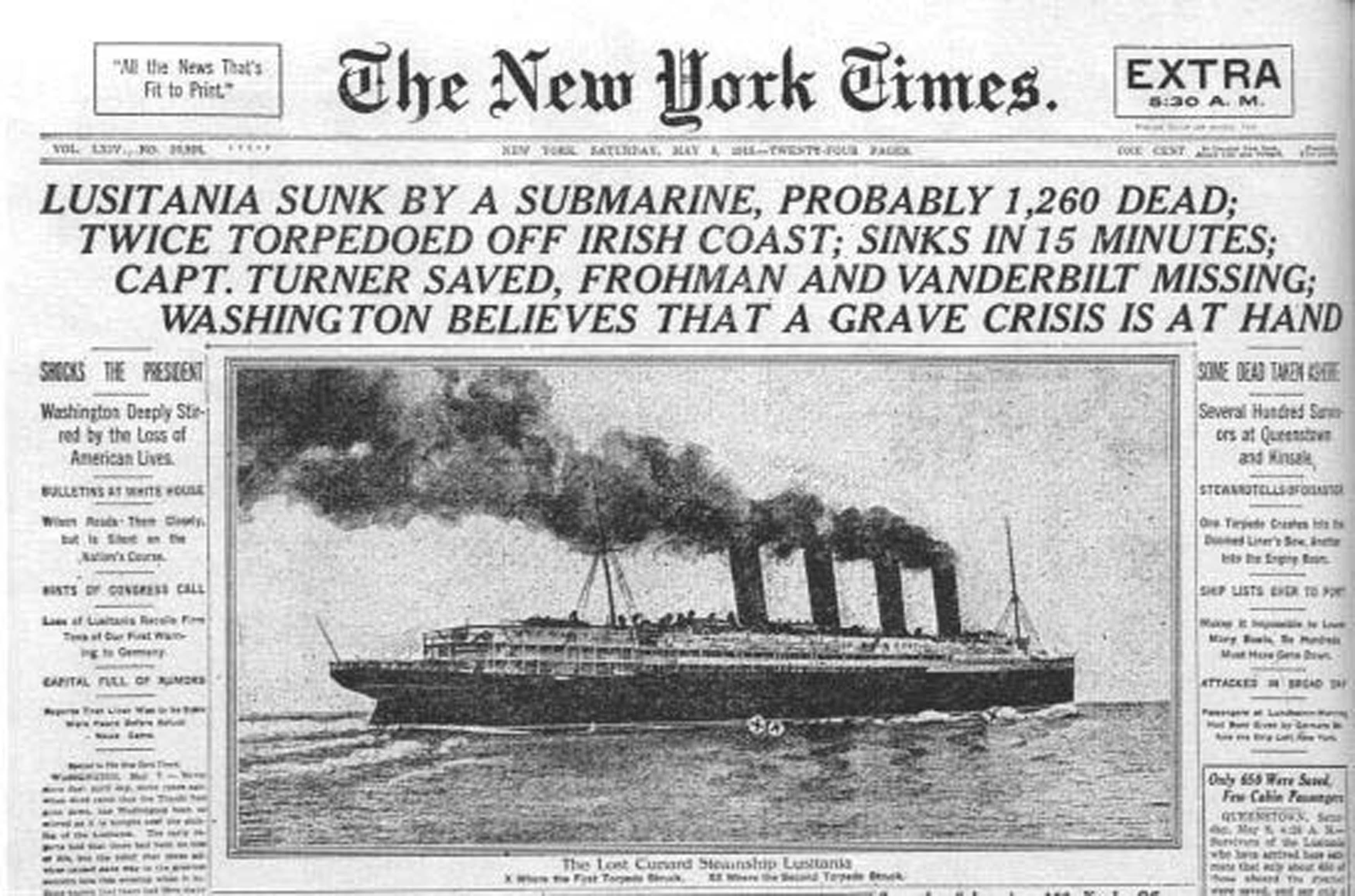 Lusitania New York Times Newspaper