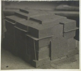 Photograph of a student model on the topic %22Finding the Form of Blunt Massive Volume (Parallelepiped, Cylinder, Complex Configuration)%22 for the %22Space%22 course at the Vkhutemas (Higher State Artistic Technical Studios), Moscow between 1920-1926