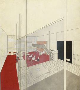 Herbert Bayer Apartment House Communal Rooms for Werkbund Exhibition, Paris, 1930- Interior perspective, view of bar from pool, 1930 Drawing German, 20th century Ink, wash, and gouache over graphite on paper 55.3 x 48.2 cm