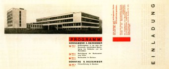 Herbert Bayer, Invitation to the inauguration of the Bauhaus building, designed by Walter Gropius, for December 4-5 1926, letterpress on paper 14.4x34.9cm3